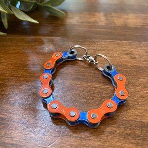BOGO! Bike chain bracelet- orange and blue
